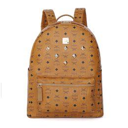 Wholesale School Girl Korea - MEM Brand Designer Backpack 2017 New Arrival Rivet Backpack for Man Women Korea Style PVC Leather School Bag Mini Small Medium Size Brown