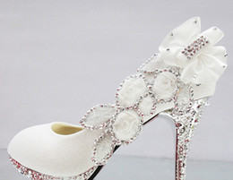 Wholesale White Diamond High Pumps - Free shipping Sexy Diamond Dancing Party Bride size 34-41 high heel