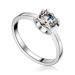 Nscd synthetische diamantringe online-Neue Mode Verlobungsring Schöne Platin Überzogene Frauen Schmuck 0.5Ct Nscd Synthetische Diamantringe Vorschlag Braut Kinderkrankheiten Schmuck