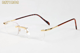 Wholesale Rectangle Driving Lights - with box 2017 rimless sunglasses gold silver metal filaments clear lens glasses for men women light sunglasses lunettes de soleil