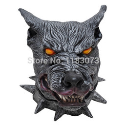 Wholesale Wolf Man Masquerade Mask - Halloween Wolf Head latex Mask Eco-friendly Adult Black Creepy Costume Masquerade Party Prop Masks Free Shipping