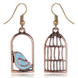 Wholesale Cage Bronze - Hot sell Earrings for women unique fashion cage shape earrings bronze plated drip earrings free shipping