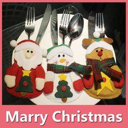 Wholesale Wholesale Pocket Knife Bag - Christmas Decoration Kitchen Cutlery Suit Silverware Holders Pockets Knifes Folks Bag Snowman Shaped Christmas Santa Claus 161006