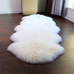 Wholesale Pink Room Mats - 24*35Inch Artificial Sheepskin Hot pink Hairy Carpets Bedroom Mat Living Room Skin Fur Plain Fluffy Area Rugs Washable Mats