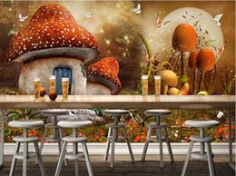 Wholesale Japan Wall Painting - Custom 3d photo wallpaper mural wall stickers fairy fantasy mushroom house children room background wall painting