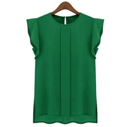 Wholesale V Neck Sleeveless Button Blouse - 2015 summer style Woman Chiffon Shirts Blouse OL Lady Round Collar Sleeveless Ruffles Tops Button Solid Blouses plus size