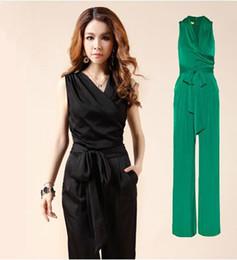 Wholesale Women Straight Elegant Black Pants - Female OL Formal Fashion V-neck Jumpsuit For Women Silk Slim Elegant Casual Long Pant Black Straight Trousers Free Shipping
