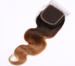 Wholesale Side Parting Brazilian Hair Closure - 4x4 Brazilian Malaysian Peruvian Virgin Hair Lace Closure 1Pieces Middle Part Lace Closure Human Hair Top Closure