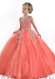 Wholesale Party Dresses Kids 12 - New party 2016 Little Girls Pageant Dresses Princess Tulle Sheer Jewel Crystal Beading White Coral Kids Flower Girls Dress Birthday gowns