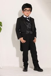 Wholesale Boys Special Occasion Wear - Vintage Double Breasted Wedding Black Tuxedos for Kids Tailcoat Cool Boys Suits Children Special Occasion Dresses(Jacket+Pants+Vest+Bow)