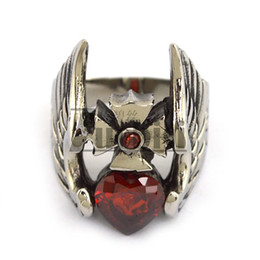 Wholesale Great Flying - Wholesale 2016 Lastest Design Men's Ring Clear Red Zircon Flying Angel Wing Ring Cheap Stainless Steel Ring