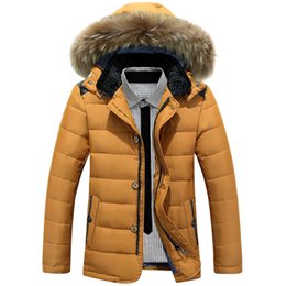 Wholesale White Western Jacket - Wholesale- New style 2016 Thick Warm Winter duck Down Jacket for Men Waterproof Fur Collar Parkas Hooded Coat high quality Western style