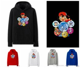 Wholesale Size Pullover Youth - Youth Poke Go Hoodies plus size Hoodies Spring Autumn Women Men Adult Pullover Streetwear Sweater Pikachu Pocket Monster Jacket KKA680