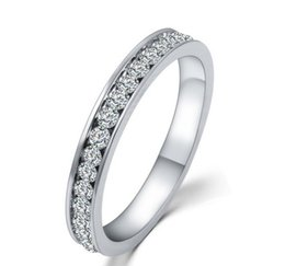 Wholesale Wholesale Tops China - 18K White Gold Plated TOP Class Full Round Rhinestones Studded Eternity Wedding Ring For Women HZ