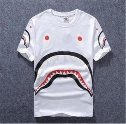 Wholesale High Quality Funny Mouth - 2017 high-quality luminous big shark mouth short-sleeved youth personality Funny cotton T-shirt tide brand T-shirt fashion and comfort