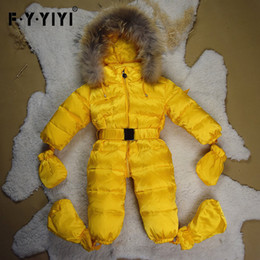 Wholesale Neonatal Baby - High Quality Raccoon Fur Baby Conjoined Clothes White Feather Fur Collar Baby Down Coat Neonatal Climbing Suit