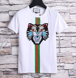 Wholesale Tiger Long Sleeve - 2018 new Luxury Brand embroidery tshirts for men Fashion polo shirt shirt men High street Snake Little Bee Tiger print mens t-shirt polo