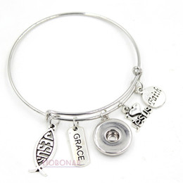 Wholesale Christian Jewelry Charms - New Arrival Wholesale Snap Jewelry Christian Faith Inspirational Charms I love Jesus Bracelets Bangles for women gift