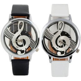orologi faux all'ingrosso Sconti Hot New Wholesale Donna Uomo Unisex Note Music Notation Dial Faux Leather Strap Orologio da polso al quarzo