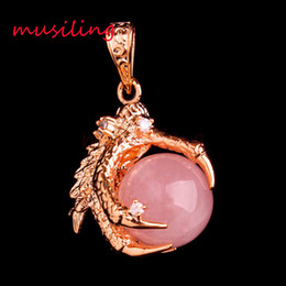 Wholesale White Gold Dragon Necklace - 16mm Beads Natural Stone Dragon Claw Pendulum Pendants Necklace Amethyst Opal Crystal Quartz etc Gold Plated Reiki Charms Men Amulet Jewelry