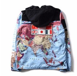 Wholesale Clothing Coats Jackets - 2017 new fashion clothing Flag mosaic military world Map Jacket Reflective jackets coats Male Windbreaker Coat Hooded embroidery outerw