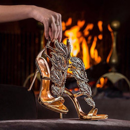 Wholesale Sexy Bling Shoes - LTTL Sexy Bling Crystal Drilled Angle Wings High Heel Sandals Shiny Leather Bridal Gold Plated Winged Gladiator Wedding Sandal Shoes