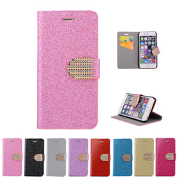 Wholesale Glossy Case Iphone 4s - Bling Glossy Gilter Wallet Flip Case Diamond Flip PU Leather Cover for iphone 4S 5S SE 6 6S plus