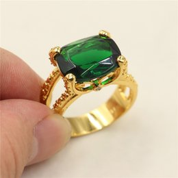 Wholesale claw rings for men - Vintage Green Emerald 18K Yellow Gold Filled Solitaire Claw Ring for Men Size 8,9,10,11