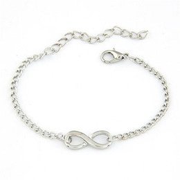 Wholesale Infinity Bar - Wholesale-Modern New Women Men Handmade Gift Charm 8 Shape Jewelry Infinity Bracelet WSep23