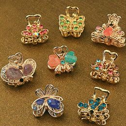 Wholesale Butterfly Rhinestone Hair Clips - Wholesale-12PCS Lot Vintage Metal Butterfly Mini Hair Claws Clip Crystal Rhinestone Hairpin Hair Jewelry Charm Hair Accessories For Women