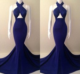 Wholesale Blue Fitted Prom Dresses - Royal Blue Halter Backless Sweep Train Satin Mermaid Evening Dresses 2016 Sexy Slim Fitted Prom Dresses Formal Party Dress Vestidos BO4865
