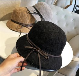 Wholesale Small Brim Summer Hats - Ms. Spring 2016 new pots hat straw hat Dayan Mao bow small hat summer sun hat child