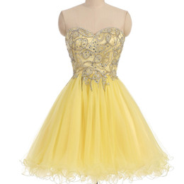 Wholesale Sequin Tops For Girls - 2018 Short Prom Dresses Homecoming Gown for Junior Girl In Stock Full Beads Crystals Top Yellow Tulle Real Image Zipper Back Party Gowns