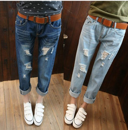 Wholesale Cute Blue Jeans For Women - NEW 2016 Korean Loose thin hole Women's Jeans pants female harem Trousers Casual Clothings for Cute woman Ladies J2110
