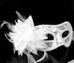 Wholesale Gold Masquerade Masks Flowers - 2017 hot sale sexy Black white red Women Feathered Venetian Masquerade Masks for a masked ball Lace Flower Masks 3colors