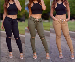 Wholesale Knee Length Pants For Women - New 2016 Fashion Drawstring Hole Pencil Pants For Women Casual Black Hole Exposed knee Ankle-Length Pants Slim Long Trousers XL