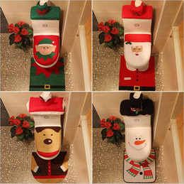 Wholesale Cartoon Seat Covers - Christmas toilet seat covers Christmas decorations supplies Santa Claus Snowman Elk Elf toilet sets Christmas checkered three in one