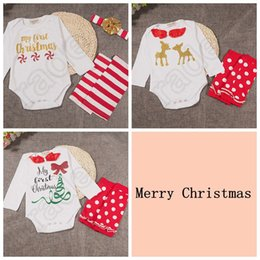 Wholesale Cute Cuffs - Baby Ins Clothing Sets Christmas Romper Headband Xmas Ins Outfits Elk Pumpkin Halloween Onesies Boot Cuffs Hairband Suits OOA786