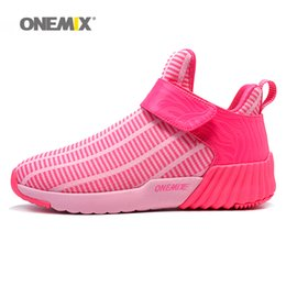 Wholesale Ladies Bowling Shoes - ONEMIX Womens Winter Warm Shoes for Women 2017 High Top Sports Outdoor Ladies Running Shoes Woman Pink Athletic Trainers Walking Sneakers 7