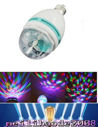 Wholesale E27 3w Colorful Rotating Rgb - Hot Sale E27 3W Colorful Auto Rotating RGB LED Bulb Stage Light Party Lamp Disco Christmas Lighting and Parties Lighting MYY166