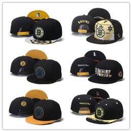 Wholesale Boston Sales - Good Sale Wholesale Men Boston Bruins Snapback Hats Team Logo Embroidery Sports Adjustable Ice Hockey Caps Hip Hop Flat Visor Free shipping