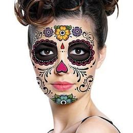 Volto adesivo di halloween online-Halloween Day Of The Dead Dia de los Muertos Maschera impermeabile autoadesivo del tatuaggio per il trucco di bellezza faccia festa in maschera