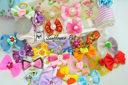 Wholesale Tied Table - 2016 New Handmade Pet Products Dog Grooming Bows Dog Hair Accessories Pet Hair Tie Dog Bow Hairs, wholesale 100 pieces