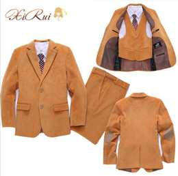 Chalecos de niño online-Corduroy Kid Boy Body Suit / Boys 'Formal / Boy Blazers / Gentlemen Boys Trajes para bodas (Blazer + Pants + Chaleco)