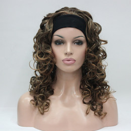 Wholesale Blonde Mix Half Wigs - top quality New Fashion super sexy yellow blonde mix auburn 3 4 wig with headband curly long half wig