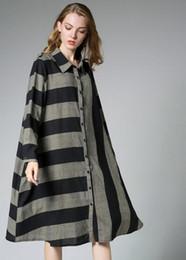 Wholesale Long Sleeve Vintage Plaid Dress - vintage fashion Style fall long sleeve turn down collar stripped dress women casual dress free ship