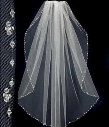 Wholesale Ivory Lace Veils Short - New Style New Design Short Wedding Veils With The Beaded Pinterest Popular White Cheap Veils Bridal One Layer Wedding Lace Veil