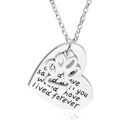 Wholesale Fine Heart Necklace - if love could have saved you,you would have lived forever New Fine Silver Dog Paw Print Heart Pendant Necklaces Pet Animal Souvenir
