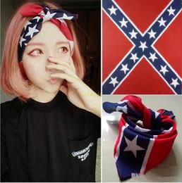 Wholesale Cotton Civil War - 55*55cm 100% cotton confederate headbands flag hiphop bandanas civil war battle bandana headwrap civil war flag outdoor kerchief