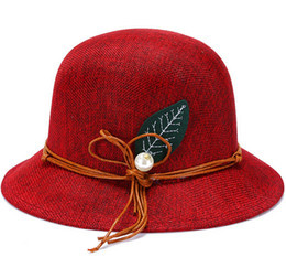 Wholesale Cheap Wholesale Church Hats - New Fashion Women Flax Flower Hat Bowler Billycock Cap Newly Design 2016 Hot Sales Cheap Nice
